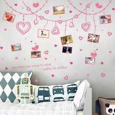 romantis bingkai foto diy wall sticker removable lucu pink art