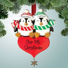 family ornaments penguin sitting on personalized free