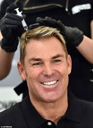 shane warne hair transplant shane warne pictured receiving stem cell therapy to combat his