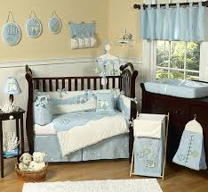 Nursery Bed Set Designer Blue White Sea Fish Theme 9pc Baby Boy Crib Bedding