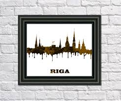 riga skyline print latvian city skyline riga art print home