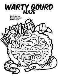 warty gourd maze coloring crayola