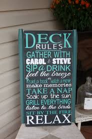 deck sign outdoor decor deck rules wooden sign personalized