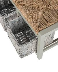 grey wooden storage bench with 2 wicker baskets homescapes
