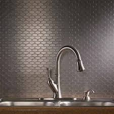 aspect wide hex stainless matted backsplash