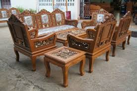 Wooden Living Room Sets Carved Teak Wood Living Room Furniture Set With Beautiful