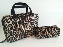 2 victoria s secret leopard hanging travel case and makeup bag set