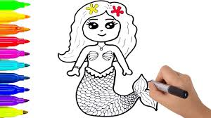 how to draw mermaid coloring for kids learning colors with