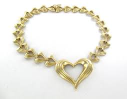 valentines necklace gold 14k solid yellow heart valentines design 56 1 grams