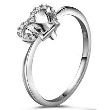 butterfly engagement ring butterfly heart shaped literary temperament 925 sterling silver
