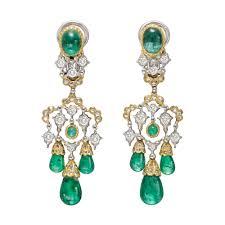 Chandelier Beaded Earrings White Bead Estate Buccellati Emerald Drop Chandelier Earrings Betteridge