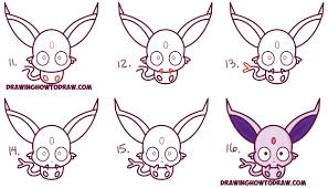 how to draw cute kawaii chibi espeon from pokemon easy step by