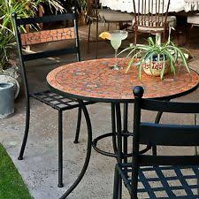 Mosaic Bistro Table Mosaic Bistro Table Set Patio Furniture Kitchen Dining Terra Cotta