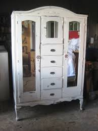 Armoire Closet Furniture Vintage Armoire Distressed White Finish Shabby Chic Furniture