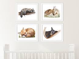 Woodland Animals Nursery Decor Nursery Print Set Woodland Baby Animals Animal Sleeping