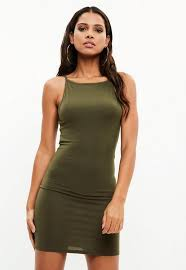 90s dress khaki 90s neck bodycon mini dress missguided australia