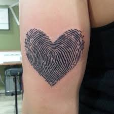 fingerprint heart tattoo with small pictures to pin on pinterest
