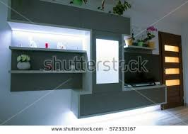 in livingroom modern designed furniture livingroom led backlight stock photo