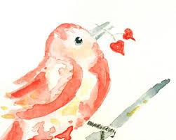 Bird Decor For Nursery Baby Nursery Coral Bird Print Bird Watercolor Painting