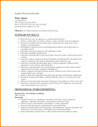 Resume Format Pdf For Electrical Engineer by 100 Example Electrician Resume 100 Sample Resume Master