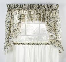 clarice colored leaf print ruffled tiers window curtains window