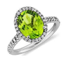 peridot and halo ring in 18k white gold 10x8mm blue nile - Peridot Engagement Ring