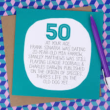 50 birthday card by your age 50th birthday card by paper plane