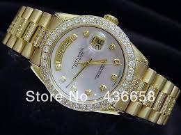 gold bracelet mens watches images Luxury mens mechanical day date 2 diamond bracelet watch men gold jpg