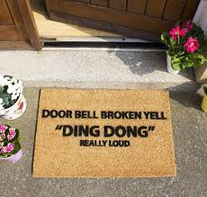 door bell broken yell doormat ckb ltd funny joke coir doormats