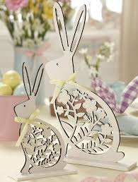 set of two white wood easter bunny ornaments by the contemporary