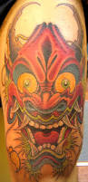 oni on leg tattoo by jime litwalk tattoos