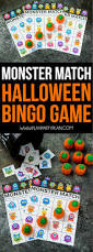 free printable halloween bingo cards and monster match games for kids