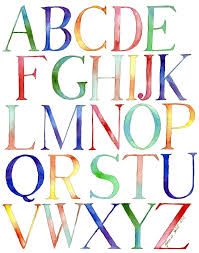 Kids Room Letters by Alphabet Watercolor Painting Typography Kids Room Watercolor Art