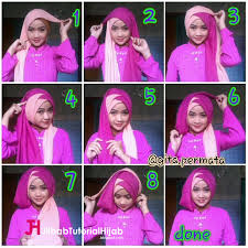 tutorial jilbab dua jilbab kreasi hijab tumpuk silang dua warna dalam berbagai momen vebma com