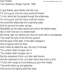 hymn and gospel song lyrics for give thanks by the canterbury