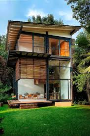 contemporary small modern prefab house design with wide glass