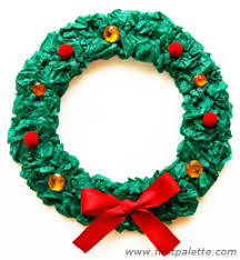 christmas reefs tissue paper christmas wreath craft kids crafts firstpalette
