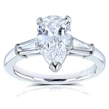 pear engagement ring pear diamond classic three engagement ring 2 1 10 ctw in