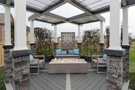 Faux Stone Patio by Gorgeous Stainless Steel Aerial Features Supported By Faux Stone