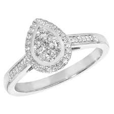 shaped engagement ring 9 carat white gold pear shaped diamond ring brilliant cut