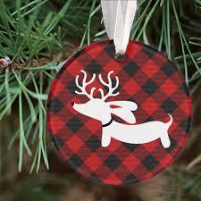 plaid christmas plaid reindeer dachshund christmas tree ornament the smoothe store