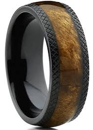 mens wood wedding bands dome black titanium wedding band ring with real marble