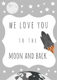 we you to the moon and back wall print all by