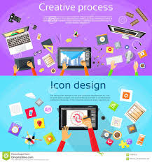 icon designer workplace designer computer tablet flat icon stock vector image