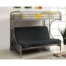 Furniture Of America Markain Industrial Metal Loft Bed With Futon - Metal bunk beds with futon