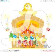 clipart of a fireplace with candles and christmas stockings