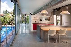 epoxy flooring kitchen with breakfast bar dining room modern and