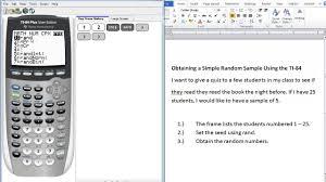 ti 84 tutorial how to obtain a simple random sample youtube