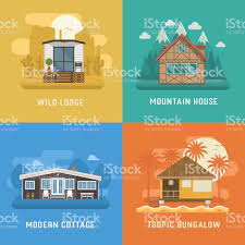 lodge chalet cottage and bungalow house set stock vector art