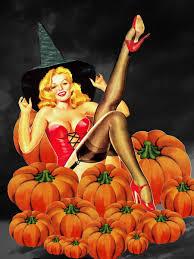 halloween pinup pumpkin patch witch halloween lovlies